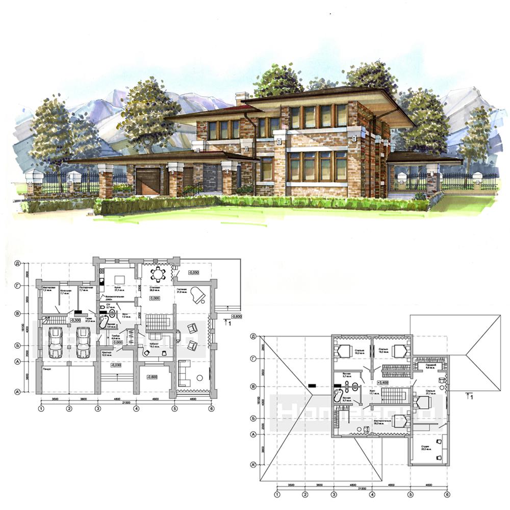 Проект-дома-в-стиле-Райта-юг-России